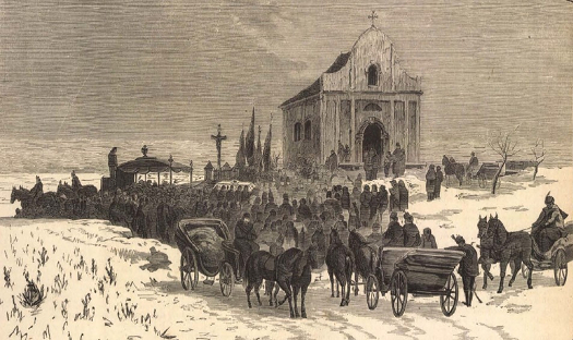 Báró Eötvös hamvainak átvitele az ercsi-i családi sírboltba 1871. február 6-án