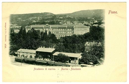 Fiume (Rijeka) látképe, rajta a Magyar Királyi Tengerészeti Akadémia épülete 1900-as évek eleje