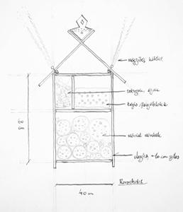 A rovarhotel tervrajza. Készítette: Cs. Tóth Levente