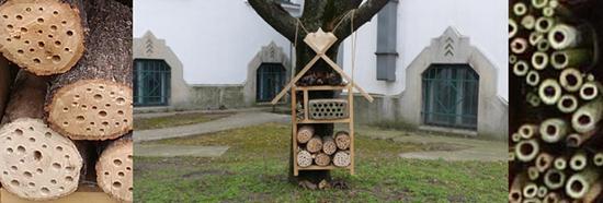 A kész rovarhotel az Országos Pedagógiai Könyvtár és Múzeum udvarán. Fotó: OPKM