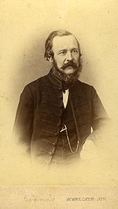 Báró Eötvös József arcképe. Schrecker Ignác felvétele, Pest, 1865.